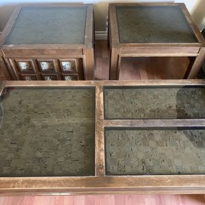 3 Piece Wood & Cork Coffee Table And 2 End Tables for Sale in Clackamas, OR