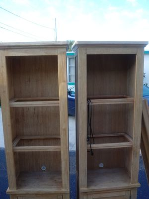 Two shelves it could go in between a bed with a TV in it or it can be used as two bookshelves with lights in it total set all four pieces hundred 50 for Sale in Clearwater, FL