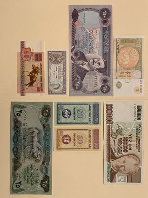 8 PCS World Mix Large and Tiny Banknote Set for $9 Currency Money Mongolia Turkey Iraq (Saddam Hussein) Belarus Hong Kong for Sale in Atlanta, GA