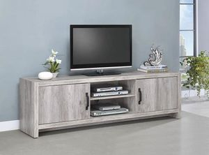 """New grey driftwood finish 71"""" long tv stand with shelves for Sale in Pomona, CA"""