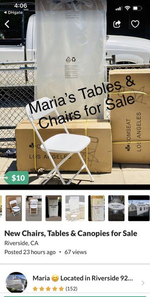 New Chairs, Tables & Canopies for Sale for Sale in Riverside, CA