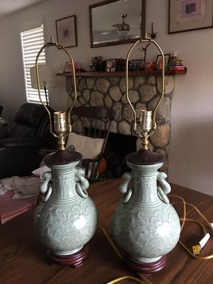 A pair of jade table lamps for Sale in Duxbury, MA
