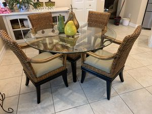 Glass Breakfast Nook Table with 4 Chairs for Sale in Boynton Beach, FL