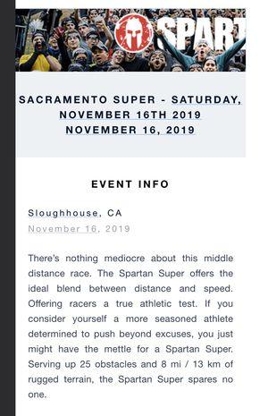 Spartan Race: Sacramento super - spectator ticket for Sale in Livermore, CA
