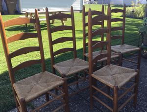 Antique ladder back oak chairs for Sale in Buffalo, NY