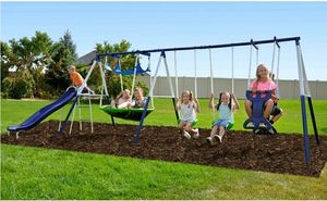 Swing set. ALL MAJOR PARTS ARE INCLUDED. MISSING SOME NUTS & BOLTS WHICH CAN BE PURCHASED FROM MANUFACTURER OR HOME DEPOT. $200 FIRM for Sale in Redlands, CA