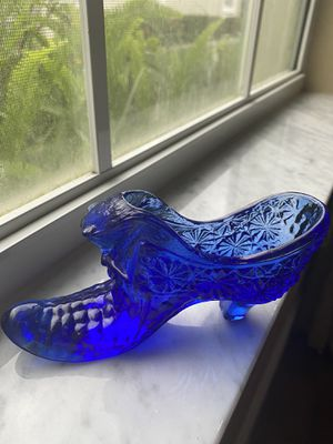 Vintage Cobalt Blue Glass Shoe Daisy and Button for Sale in Zephyrhills, FL