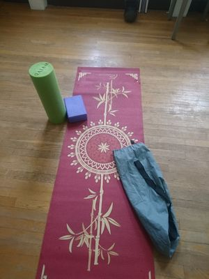 Yoga mat pad, block, carry case strap, foam roller for Sale in Boston, MA