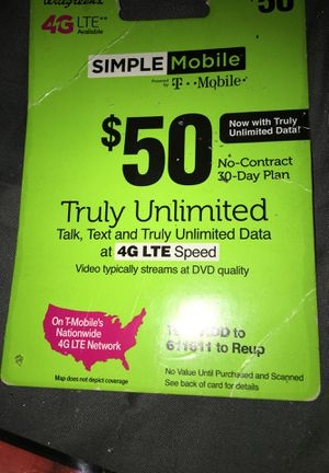 $50 simple mobile card for Sale in Milwaukee, WI