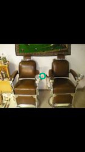 $10K - 1957 THEO A. KOCHS VINTAGE BARBER CHAIRS - $10K FOR THE PAIR OBO - READ DESCRIPTION FOR SHIPPING INFO for Sale in Brea, CA