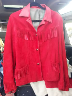 Vintage 1950s Red Suede Fringe Cowgirl Jacket **beautiful shape** for Sale in Albuquerque, NM