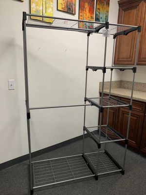 NEW 45x20x68 Inches Tall 2 Sturdy Hanging Bars Clothes Jackets Coat Shoe Orangizer Garment Wardrobe Rack Shelf for Sale in Whittier, CA
