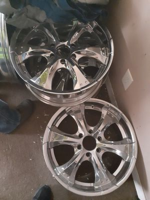 All black 22s five lugs and All Chrome 20s six lugs for Sale in Kansas City, MO