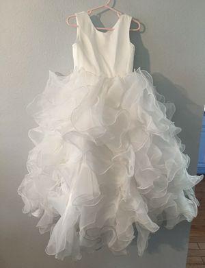 Girls Formal White Dress Ruffle Formal Wedding Pageant Flower Girl 3/4 for Sale in Austin, TX