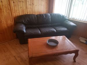 Leather couch and love seat and coffee table and a Desk for Sale in Lake Alfred, FL