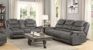2PC LIVING ROOM SET: RECLINER SOFA AND RECLINER LOVE SEAT--GREY SUEDE COLOR for Sale in Antioch, CA
