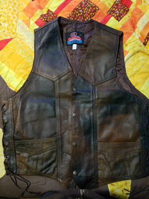 Men's large multi colored brown motorcycle vest for Sale in Snohomish, WA