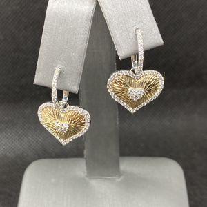 14k White & Yellow Gold Diamond Heart Earrings for Sale in Boynton Beach, FL