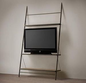 Restoration Hardware Reclaimed Elm and Iron Leaner TV Shelving Bookcase Etagere for Sale in Fort Lee, NJ