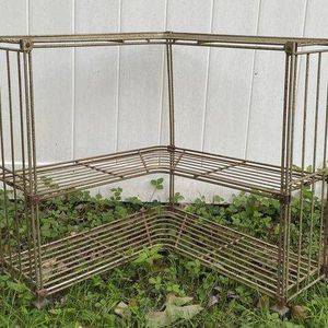 Vintage Antique Mid Century Modern MCM 3 Tier Metal Wire Corner TV Plant Stand Magazine Record Holder Shelf Cart Rack Bar for Sale in Chapel Hill, NC