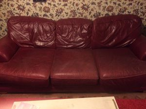 Free Red Leather Couch for Sale in Pittsburgh, PA