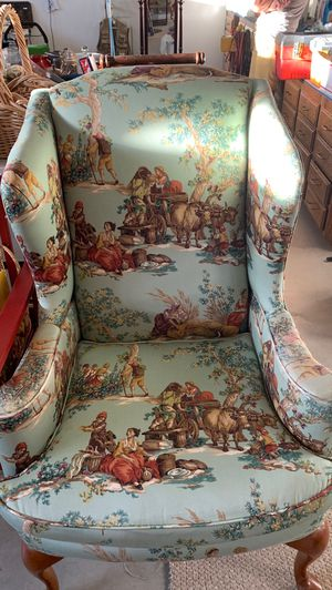 Wing back chair with ottoman. for Sale in Wenatchee, WA