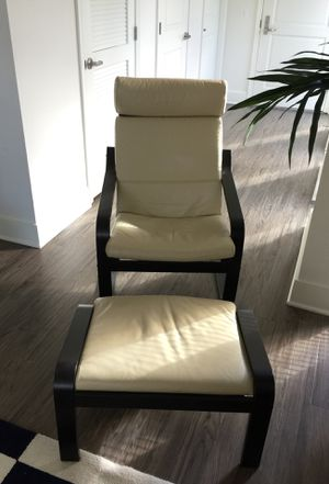 Two wooden armchair, leather seat + two ottomans. IKEA 2016. Very good condition, used by senior couple (No kids, No pets, No smoking), $65 each set. for Sale in Rockville, MD