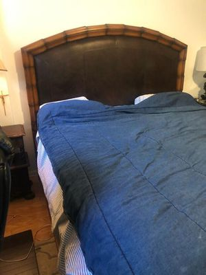 King size Solid Wood / leather inset headboard and designer frame and mattress for Sale in Los Angeles, CA