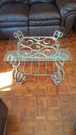 Glass square iron end table good condition for Sale in Jackson, NJ