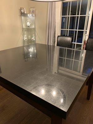 NEW LOWER PRICE ! MUST SEE!!! And go today. Black marble granite table with 6 chairs for Sale in Middletown, NJ