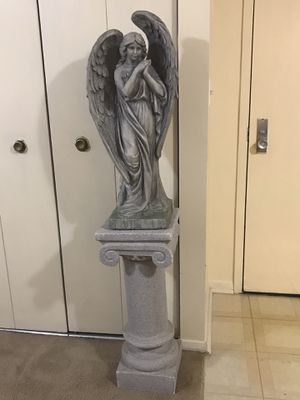"""2 pc of 24"""" tall large angle statue with 30"""" heavy cement pedestal stand still available for pick up in Gaithersburg md20877 for Sale in Gaithersburg, MD"""