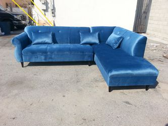 NEW 9X7FT JUAGUAR TEAL BLUE FABRIC SECTIONAL CHAISE for Sale in Vista,  CA