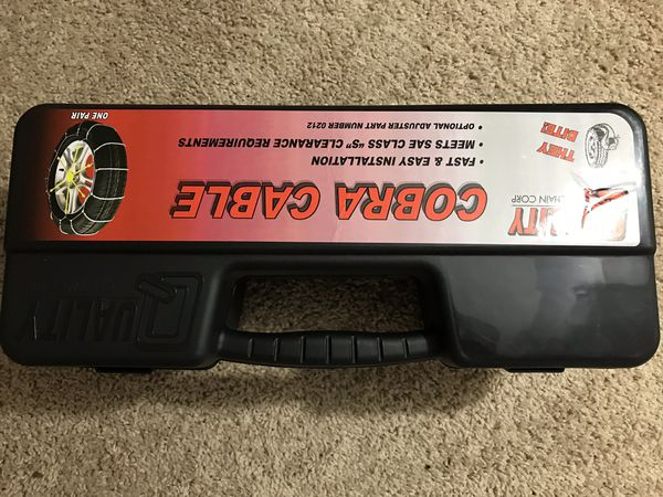 Quality Chain Cobra Snow Traction Tire Chains (1046) with Rubber Tightener