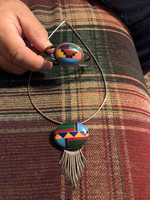 Sterling Silver Mexico Bracelet/Necklace with Pendant for Sale in Conyers, GA