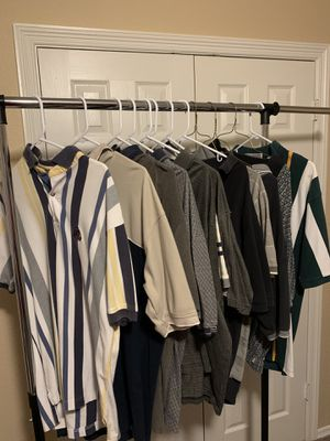 12 vintage short sleeve Polo shirts various manufacturers such as IZOD, Dockers, and Croft & Barrowe to name a few for Sale in Keller, TX
