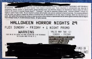 Halloween Horror Night Ticket 2 day Promo for Sale in Miami, FL