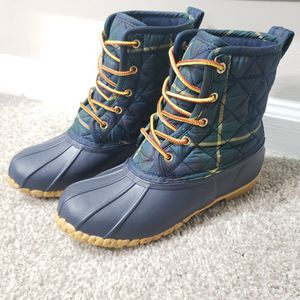 POLO Ralph Lauren Snow Rain Duck Boots - Green Blue Plaid - Youth Size 4.5 for Sale in Lithonia, GA