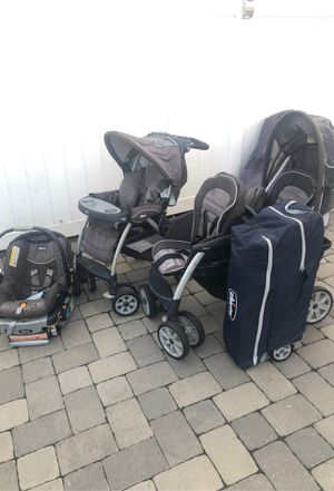 Chico double stroller, single stroller, car seat that fits strollers and Chicco pack and play for Sale in Union Beach, NJ