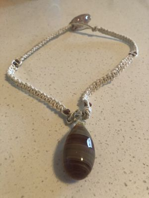 Hand blown glass pendant hemp necklace with blown glass pendant closure for Sale in Tualatin, OR