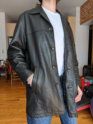 Leather Button-Down Car Coat (Eddie Bauer, black, mens') for Sale in Chicago, IL