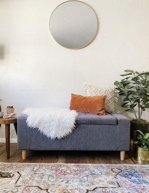 mid century modern gray storage ottoman for Sale in Tempe, AZ