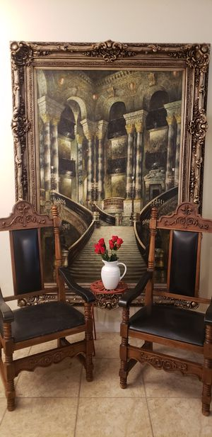 Gothic style antique tall back black throne end of table king chairs for Sale in Windermere, FL