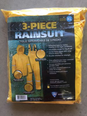 New 3 piece Yellow Rain Suit XL clothes cover PVC polyester for Sale in Mesa, AZ