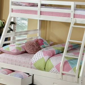 BUNK BED Twin Over Full White Free Drawers Free Mattress for Sale in Atlanta, GA