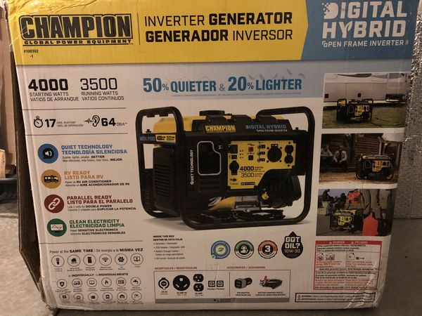 Champion Generator Quite Technology Brand New Used only once Starting Watts 4000 Running Watts 3500
