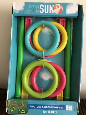 Brand new ring toss horseshoe set 10 pieces age 4 and over for Sale in Farmington Hills, MI
