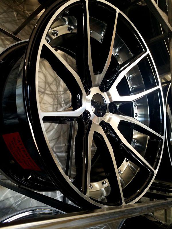 5x114 wheels 17x8.5 et35 concave stance style wheels black machine with rivets rims