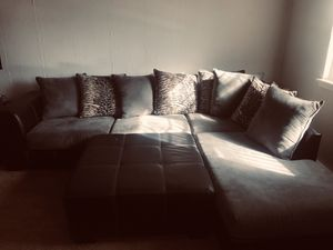 Leather plush fabric sectional and 2 black glass tables with lamps in excellent condition for Sale in Croydon, PA