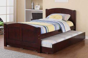 DARK CHERRY FINISH TWIN SIZE BED + TRUNDLE / CAMA SENCILLAS for Sale in Riverside, CA