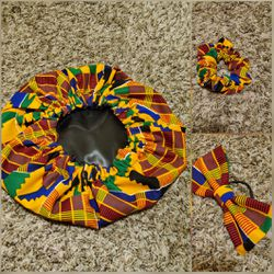 African print fabric bonnet, scrunchie and hair bow for Sale in Southern View,  IL